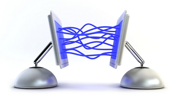 two computer communicate with each other 3d rendering